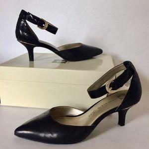 Anne Klein black leather and snakeskin heels